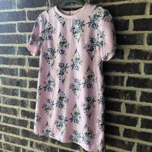 Pink Floral Sequin Dress
